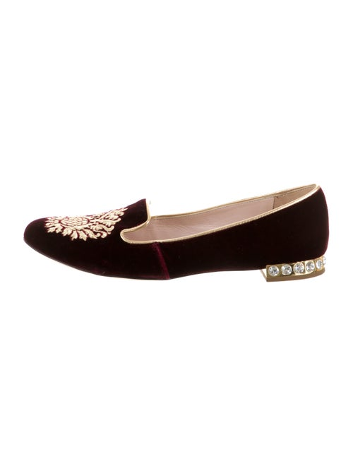 Miu Miu Velvet Embroidered Loafers gold
