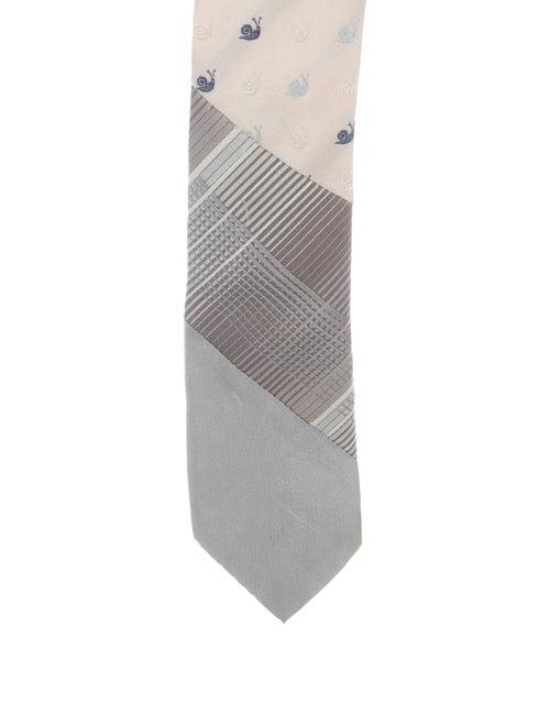 Miu Miu Embroidered Silk Tie grey