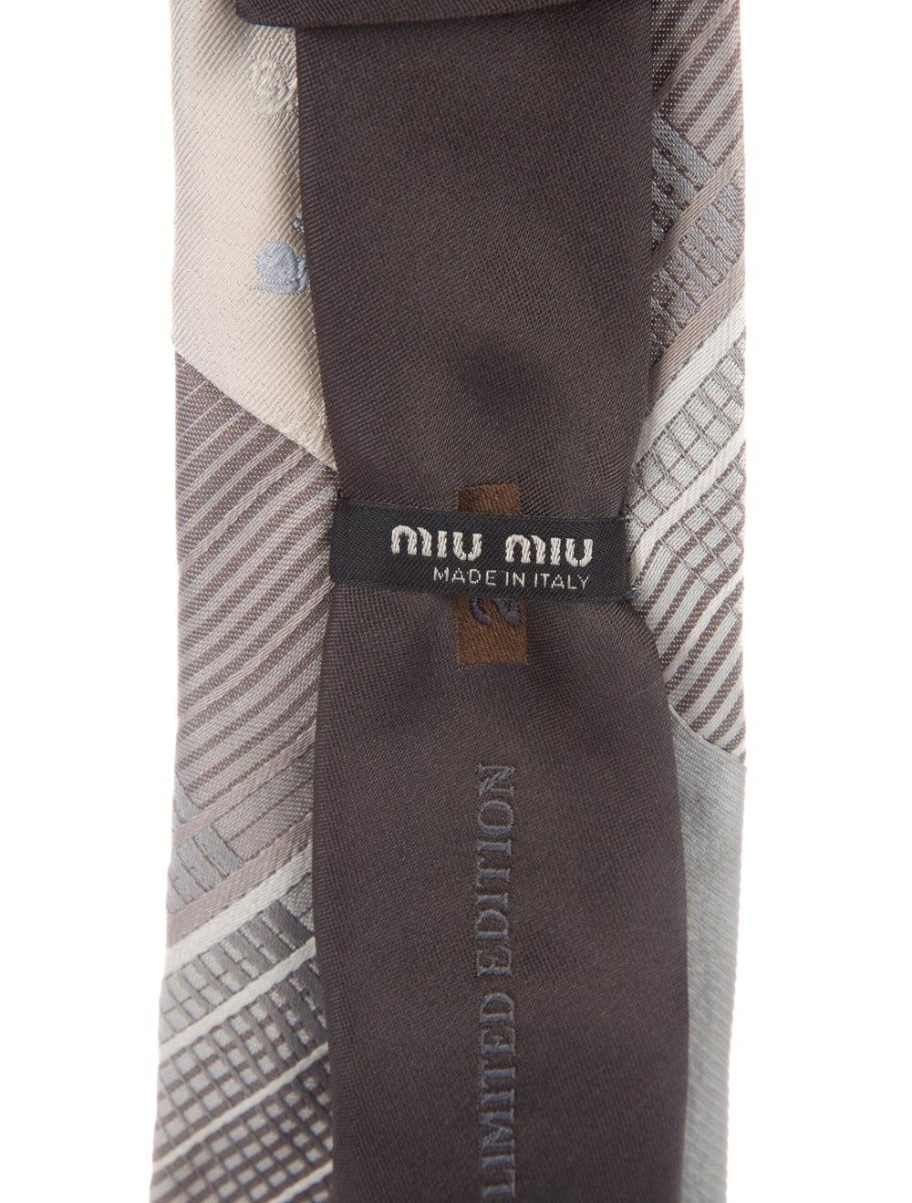 Miu Miu Embroidered Silk Tie grey - image 2