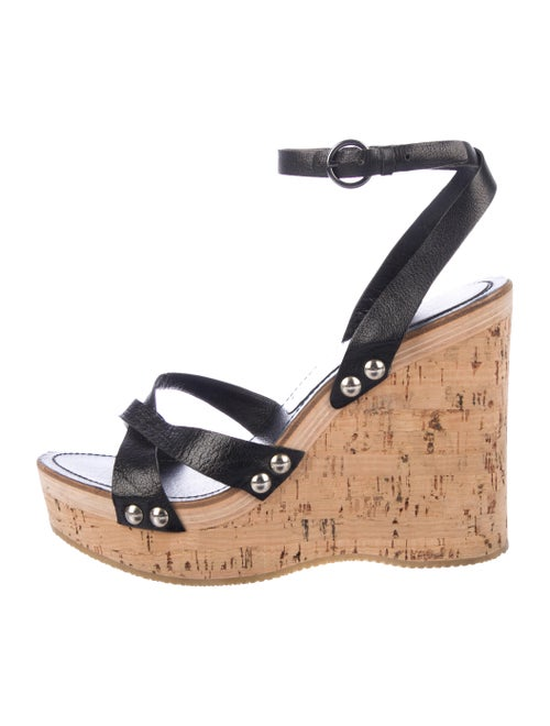 Miu Miu Wedge Ankle Wedge Sandals Black