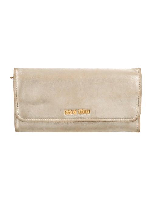 Miu Miu Leather Flap Wallet Gold