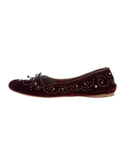 Miu Miu Bow Accents Ballet Flats Red