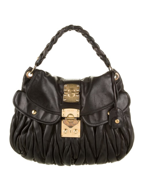 Miu Miu Matelassé Leather Satchel Black