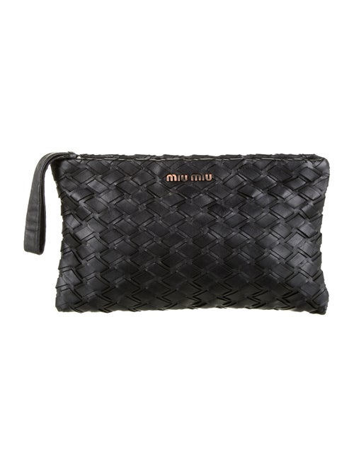 Miu Miu Leather Intreccio Pochette Black