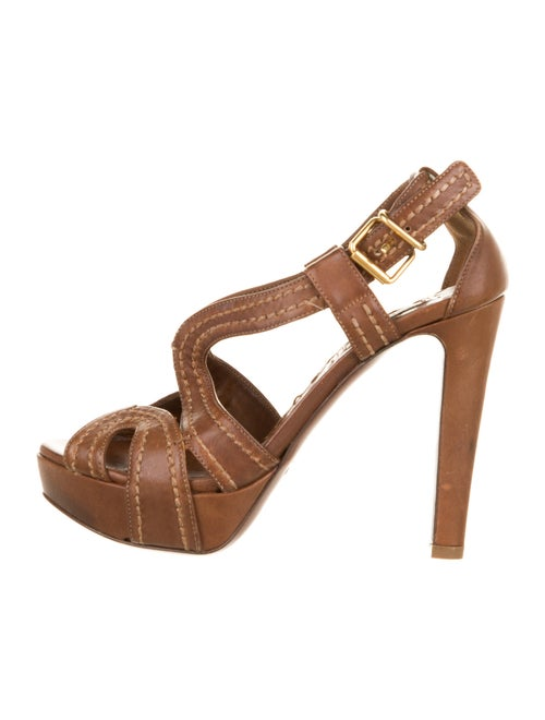 Miu Miu Leather Slingback Sandals Brown