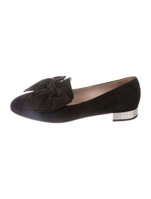 Miu Miu Bow Accents Loafers Black
