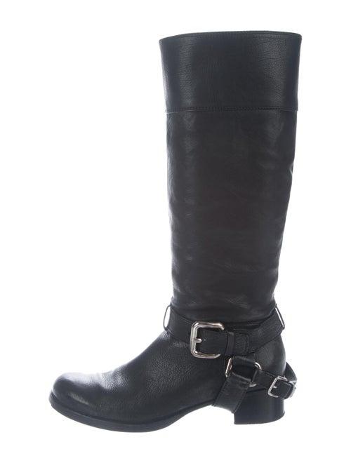 Miu Miu Leather Knee-High Boots Black