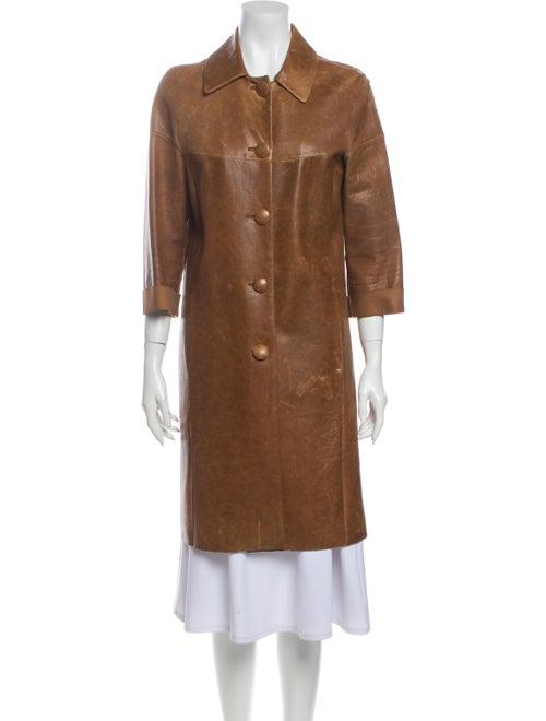 Miu Miu Leather Coat Brown