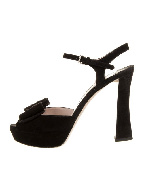 Miu Miu Suede Bow Accents Sandals Black