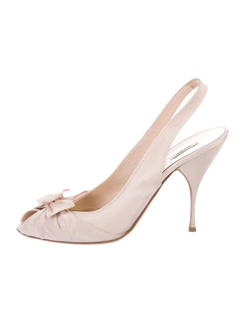 Miu Miu Bow Accents Slingback Pumps Pink