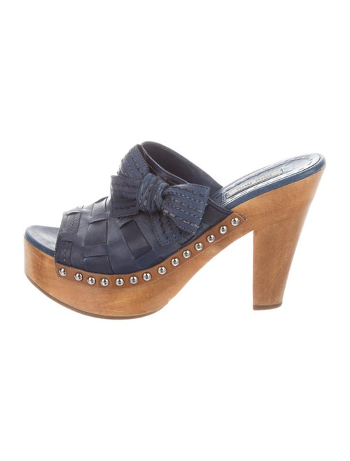Miu Miu Leather Bow Accents Slides Blue