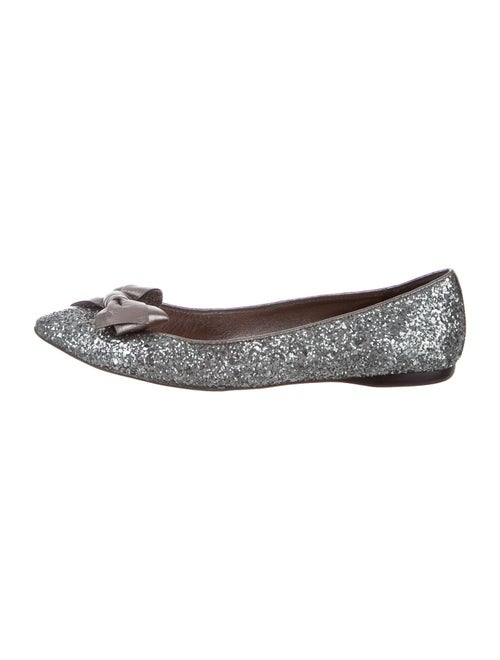 Miu Miu Bow Accents Flats Metallic