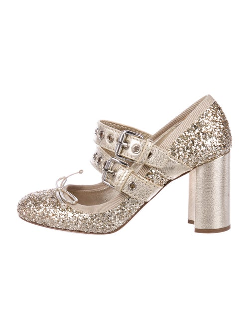 Miu Miu Bow Accents Pumps Gold