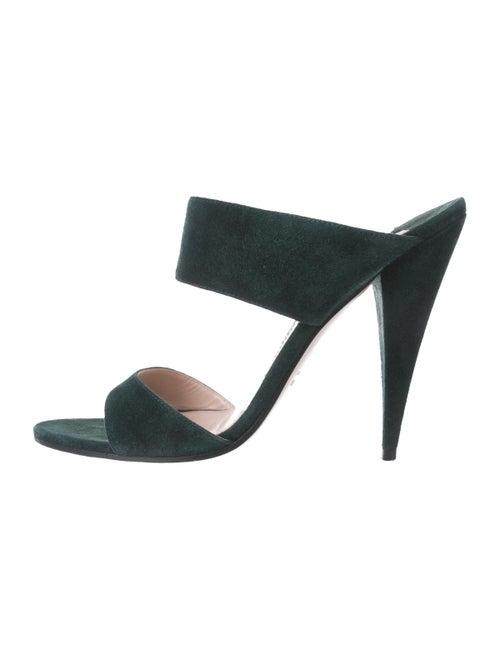 Miu Miu Suede Slip-On Sandals green
