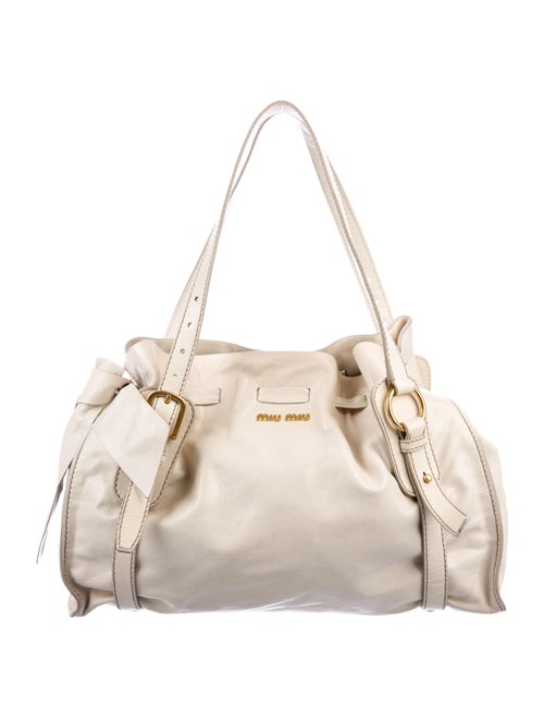 Miu Miu Leather Bow Shoulder Bag Gold