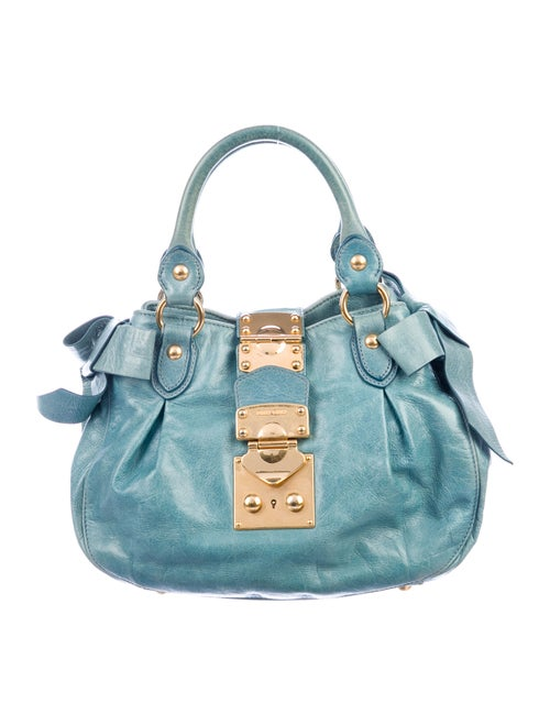 Miu Miu Leather Bow Bag Blue