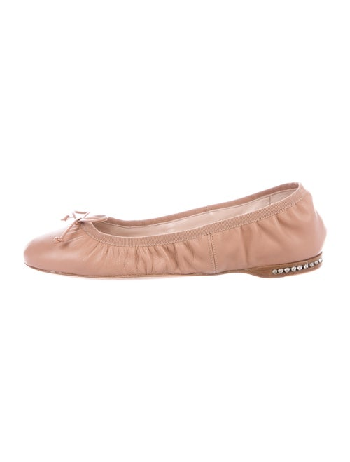 Miu Miu Leather Bow Accents Ballet Flats