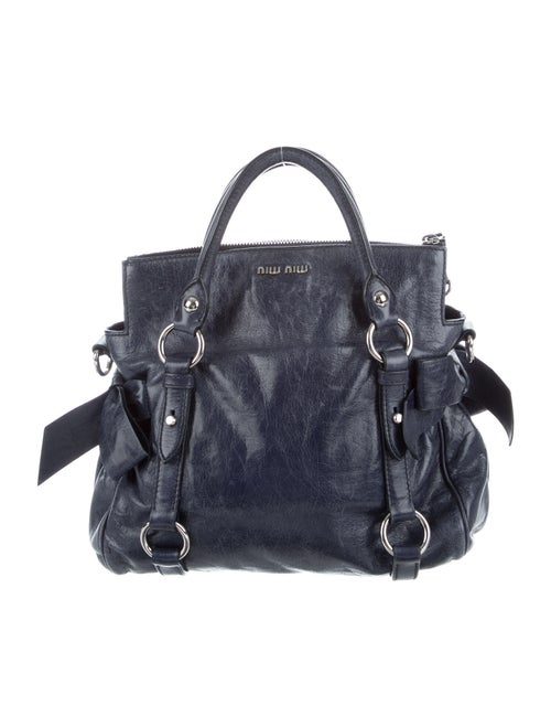 Miu Miu Bow-Accented Leather Bag Blue