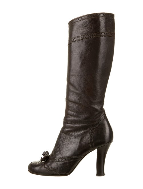 Miu Miu Leather Bow Accents Boots Brown