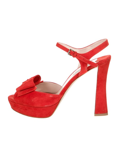 Miu Miu Suede Bow Accents Sandals Red