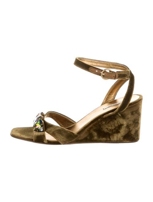 Miu Miu Suede Tie-Dye Print Sandals Green