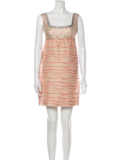 Miu Miu Printed Mini Dress Pink