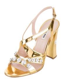 Miu Miu Leather Crystal Embellishments Slingback Sandals