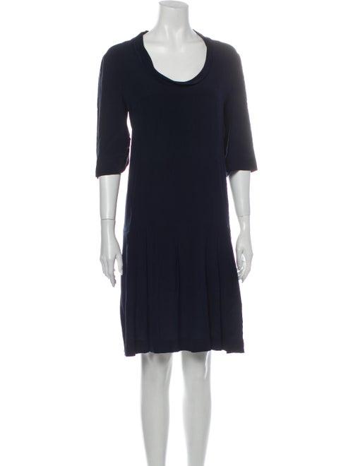 Miu Miu Silk Knee-Length Dress Blue