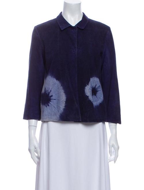 Miu Miu Leather Tie-Dye Print Evening Jacket Blue
