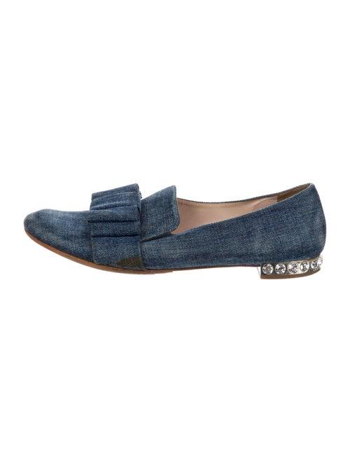 Miu Miu Bow Accents Loafers Blue