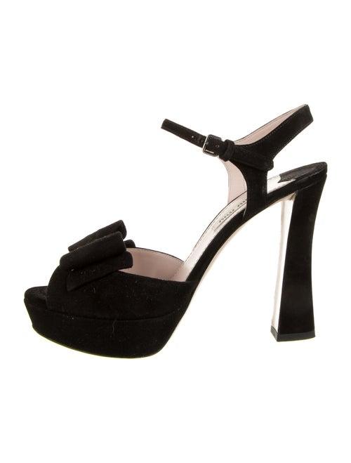 Miu Miu Suede Bow Accents Sandals Black