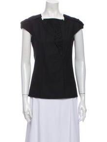 Miu Miu Virgin Wool Square Neckline Blouse