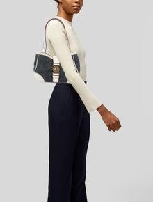 Miu Miu Leather-Trimmed Denim Shoulder Bag