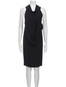 Miu Miu Cowl Neck Knee-Length Dress