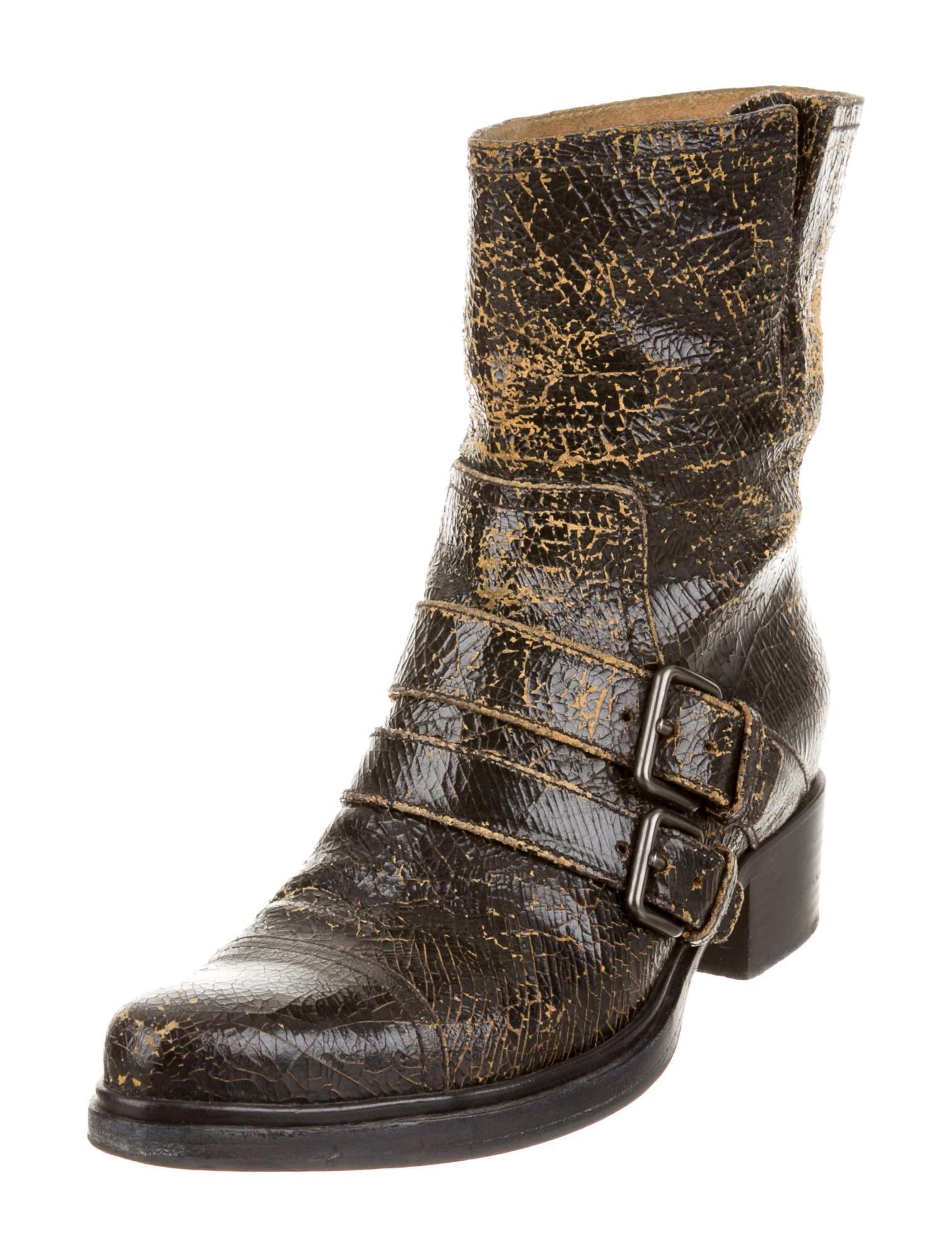 miu miu distressed leather boots shoes miu33206 the