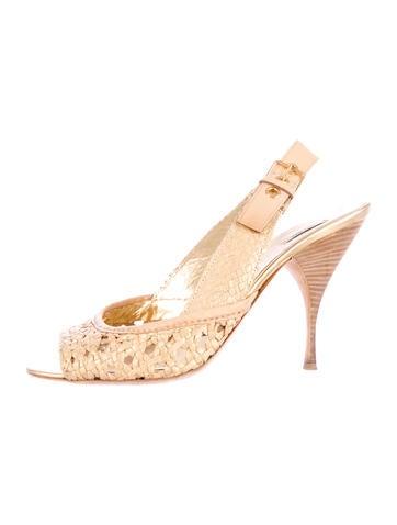 Miu Miu Leather Woven Sandals