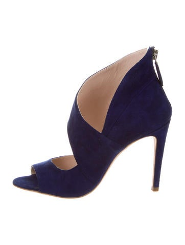 Suede Peep-Toe Pumps