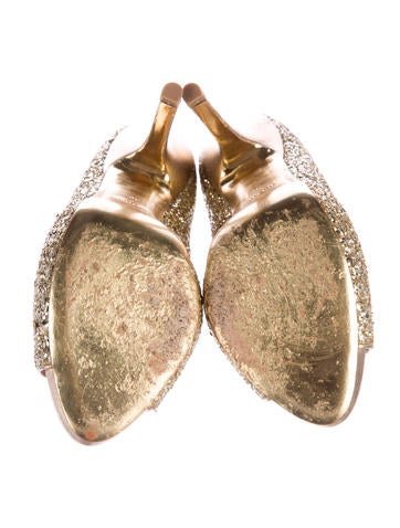 Glitter Peep-Toe Pumps