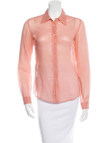 Miu Miu Sheer Button-Up Top None