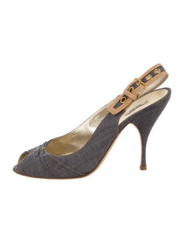 Miu Miu Denim Slingback Sandals