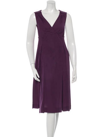 Miu Miu Pleated Sleeveless Dress None
