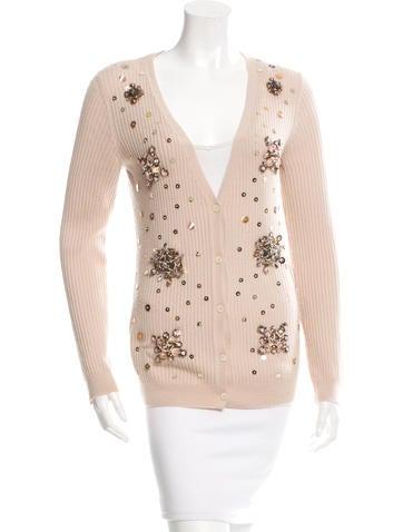 Miu Miu Embellished Wool Cardigan None