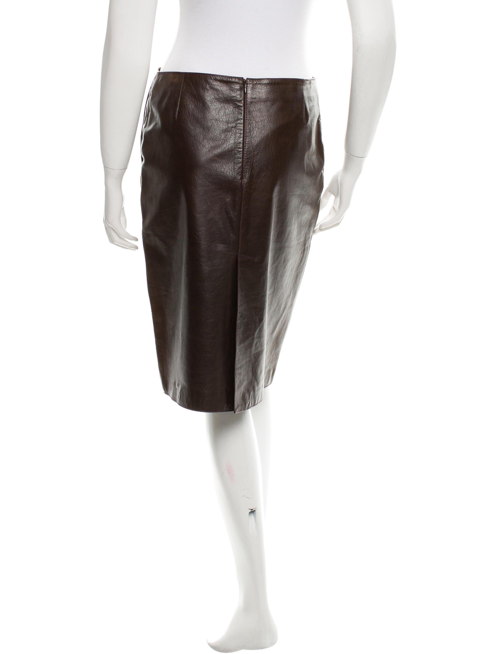 miu miu leather knee length skirt clothing miu39996