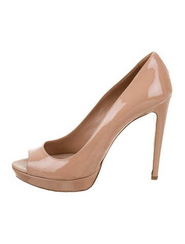 Miu Miu Patent Leather Peep-Toe Pumps None