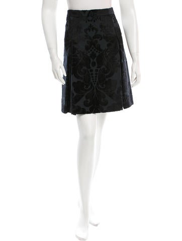 Miu Miu Brocade Embroidered Skirt None