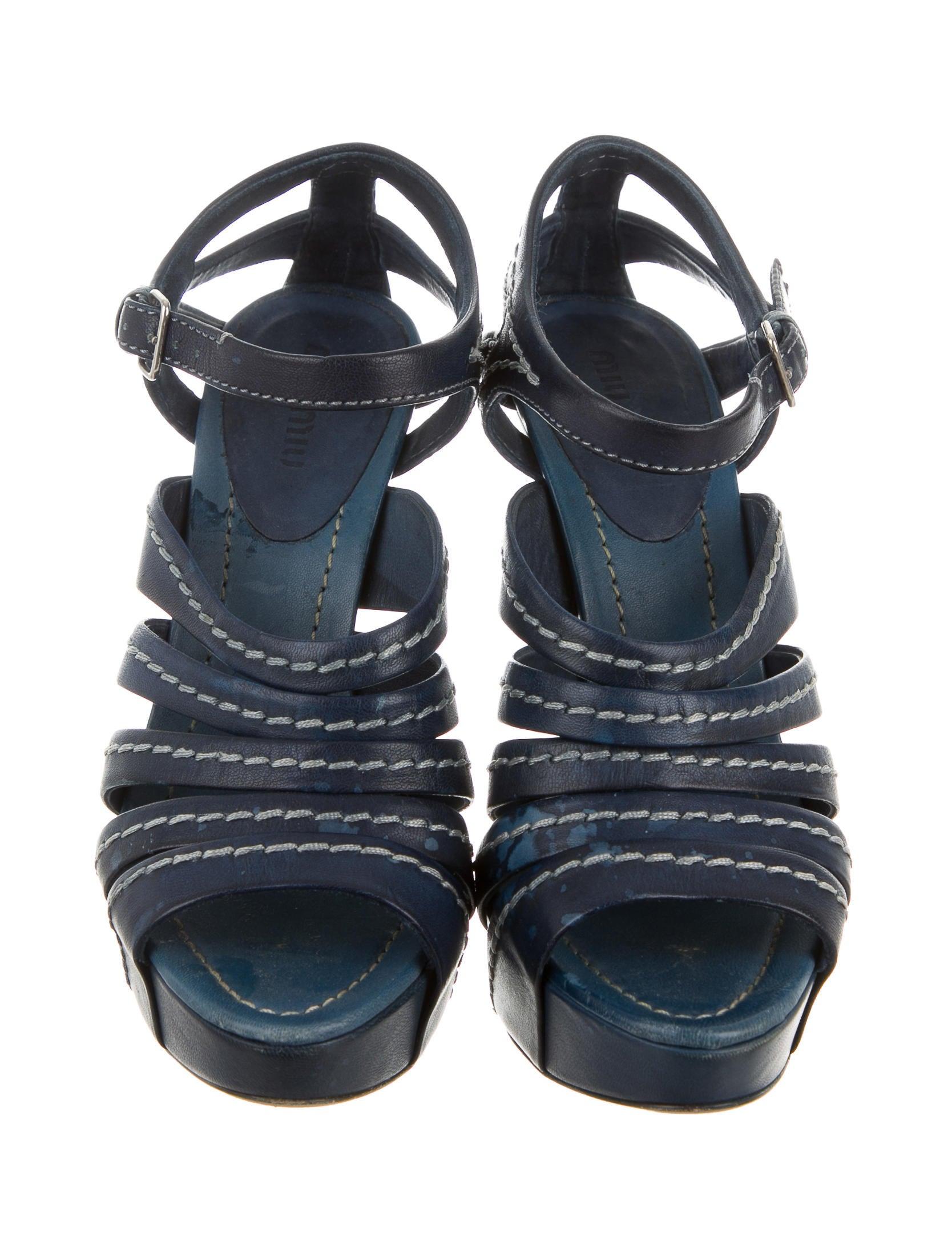 miu miu leather platform sandals shoes miu40144 the