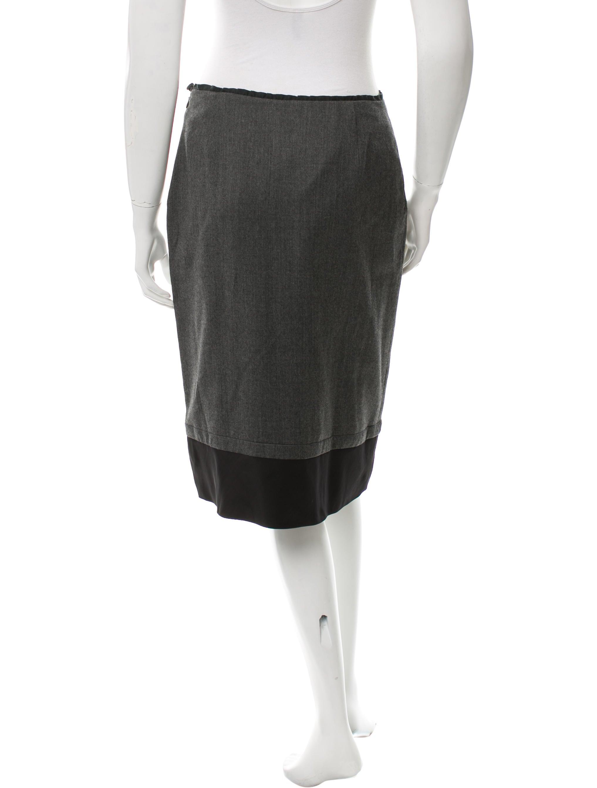 miu miu knee length wool skirt clothing miu40245 the