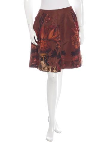 Miu Miu Silk Floral Print Skirt None