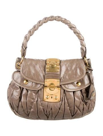 Miu Miu Matelassé Pleated Coffer Bag None