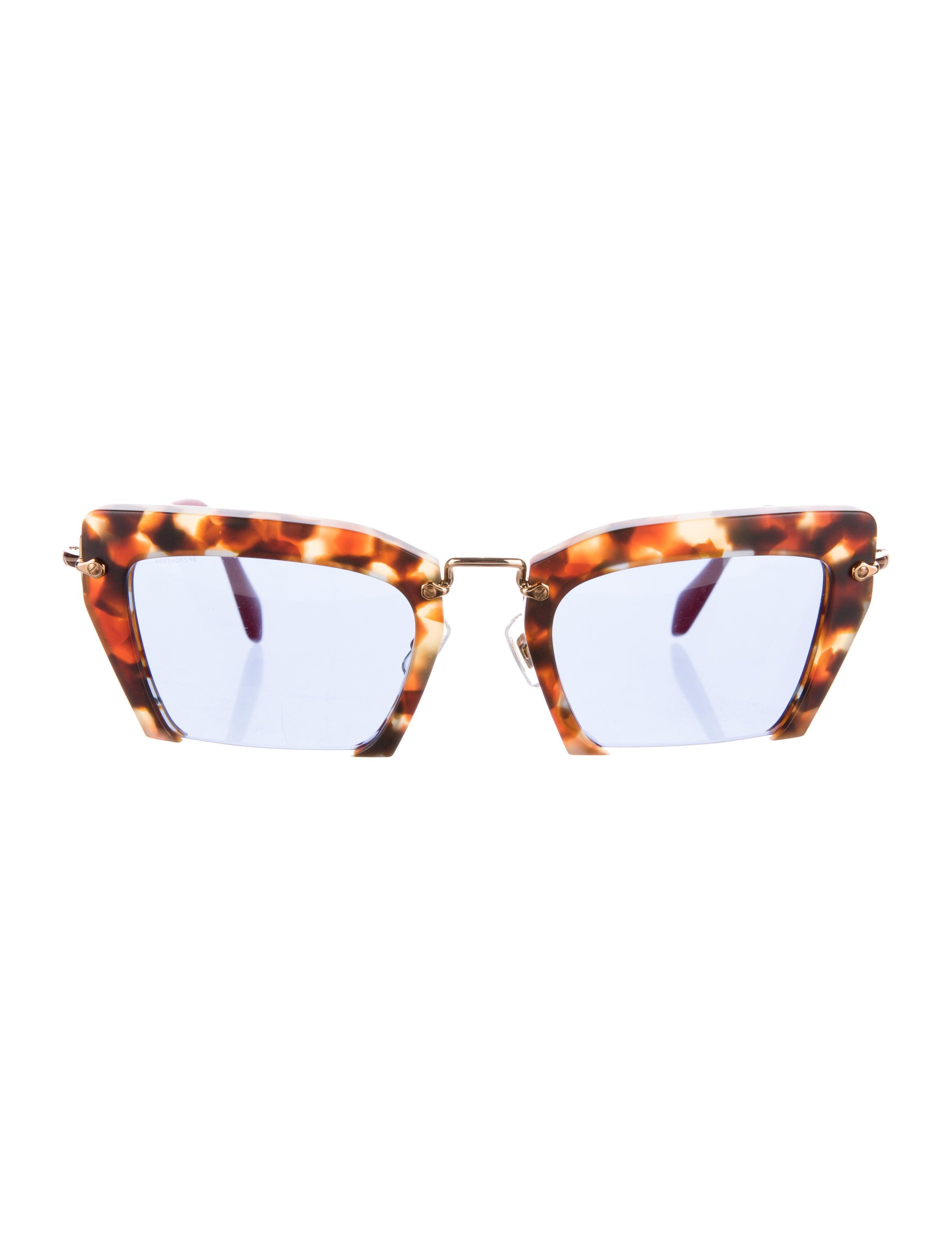 f1ac8a7e4730 Miu Miu Tortoiseshell Raisor Sunglasses - Accessories - MIU41027 ...